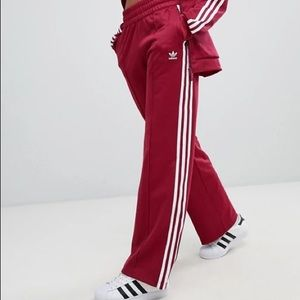 THREE STRIPE WIDE LEG TRACK PANTS